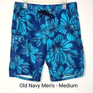 Old Navy Teal Hawaiian Swim Trunks